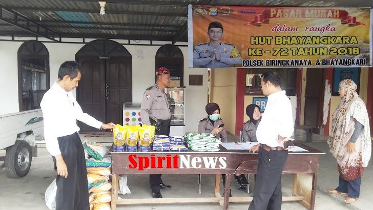 Semarak HUT Bhayangkari Polsek Biringkanaya, Gelar Pasar Murah