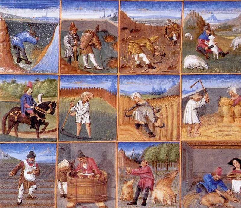 Calendário agrícola de um manuscrito de 1306 por Pietro de Crescenzi (col.  priv.) 37352e3feb880
