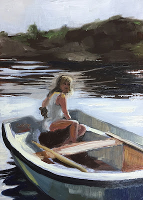 Girl in a boat, oil painting on panel 13x18 cm by Philine van der Vegte