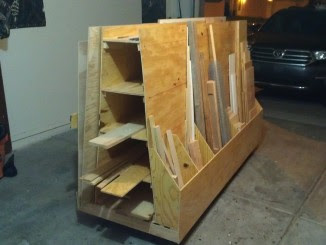 diy wooden rolling cart to store pieces of wood.
