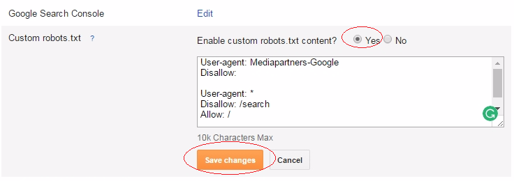 Insert given code on Custom robots.txt section then save changes to complete process