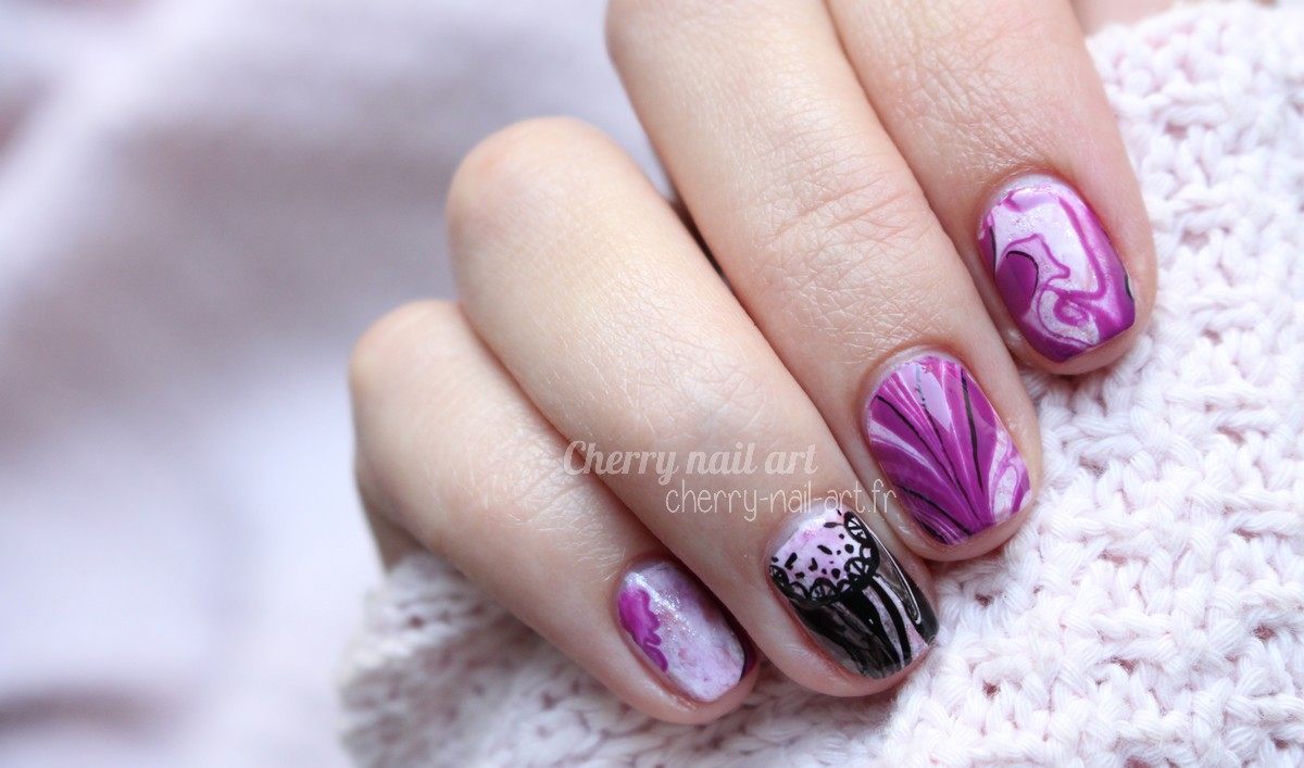 nail-art-water-marble-transparent-dentelle
