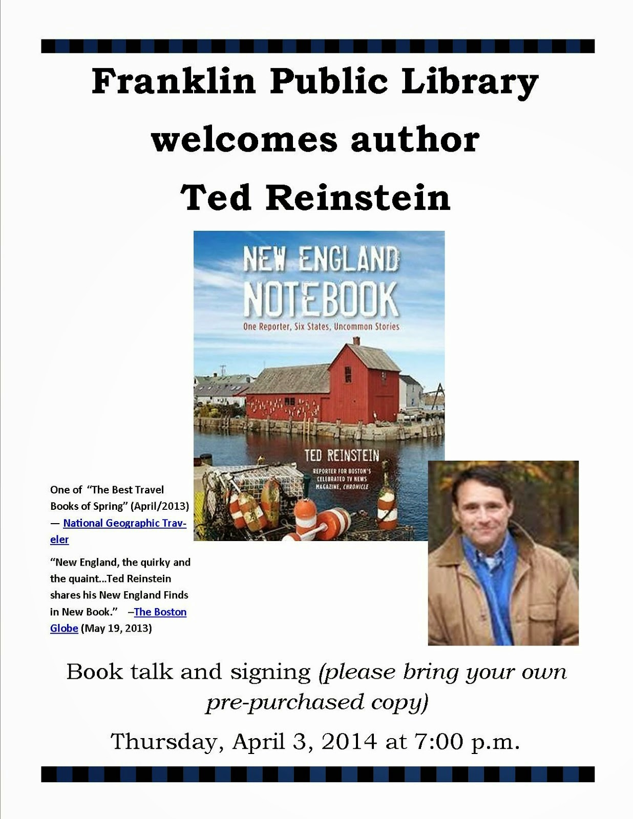 Ted Reinstein, author of New England Notebook