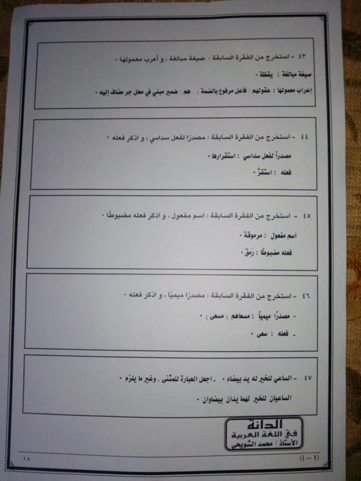 نموذج امتحان اللغة العربية للثانوية العامة 2020 16