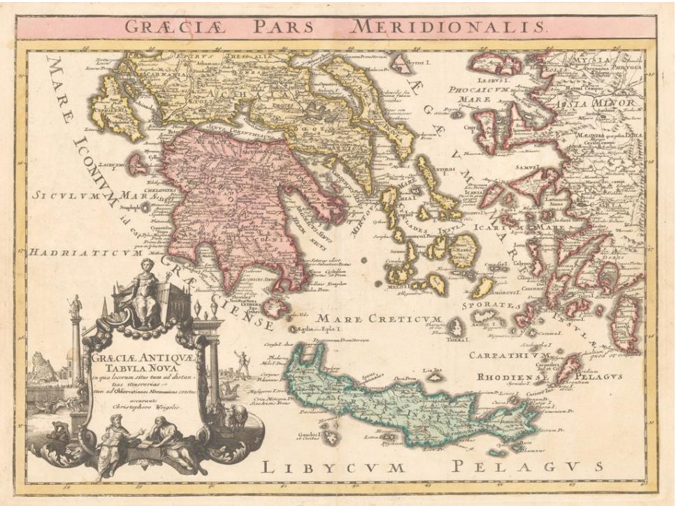 1720 Map Of Greece And Crete Gracia Pars Meridonalis