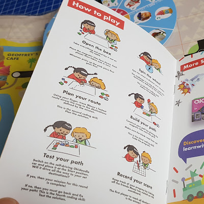 OKIDO Which Way Coding Game instruction leaflet with puzzles and scorecard