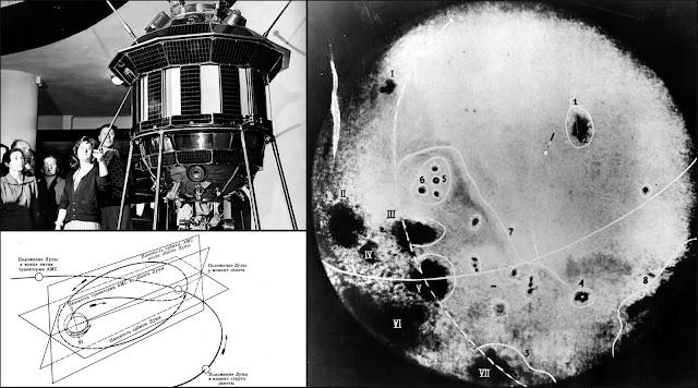 Soviet spacecraft Luna 3 probe photos of the dark side of the moon.