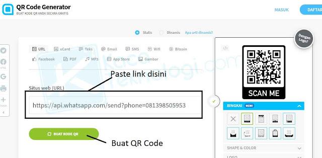 cara mudah membuat barcode whatsapp dengan qr code generator