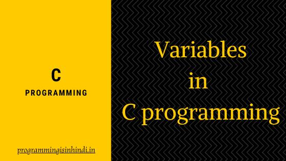 Variable in c in hindi
