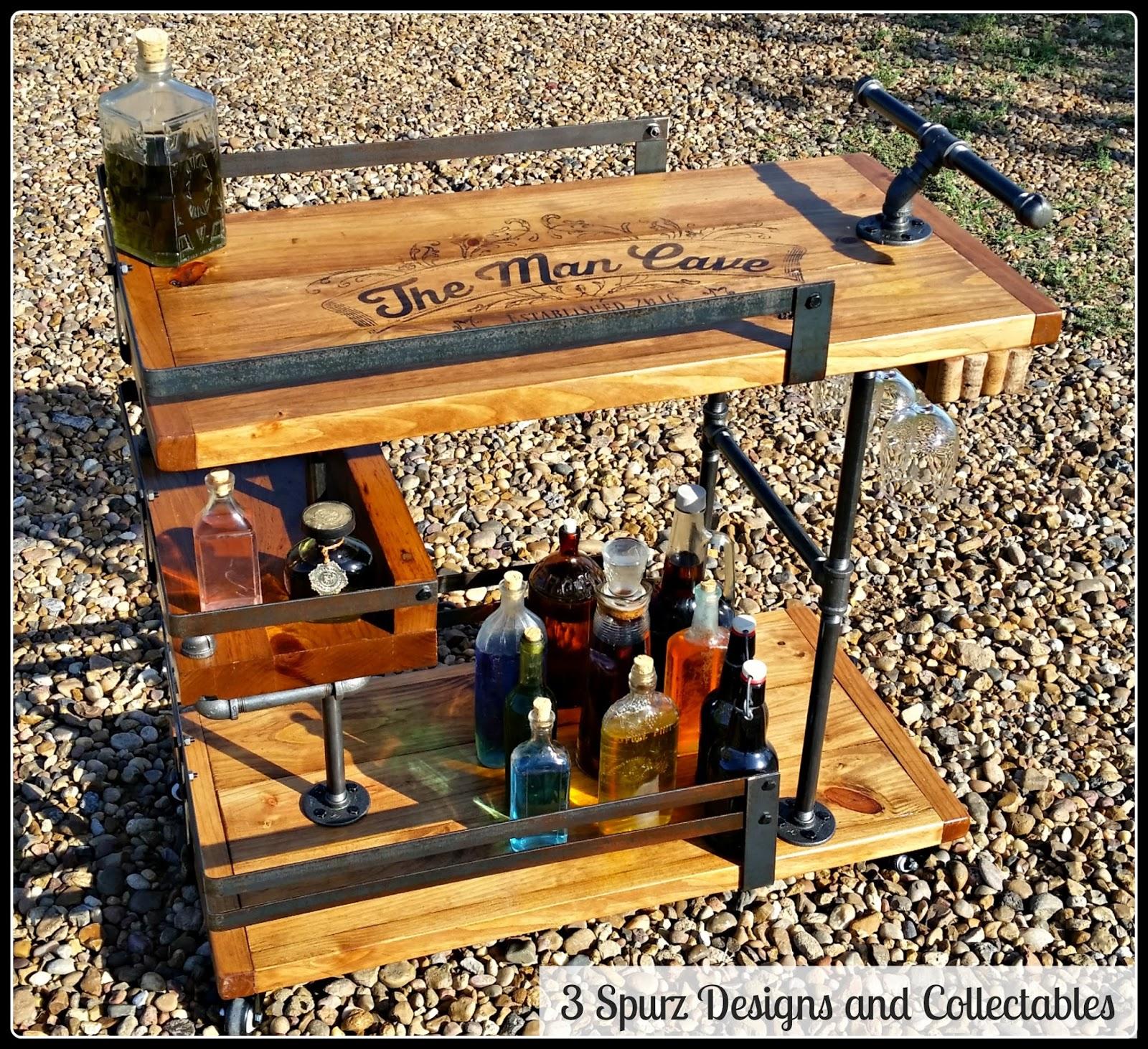 Man Cave Bar Cart : Spurz dandc repurposed refurbished creations
