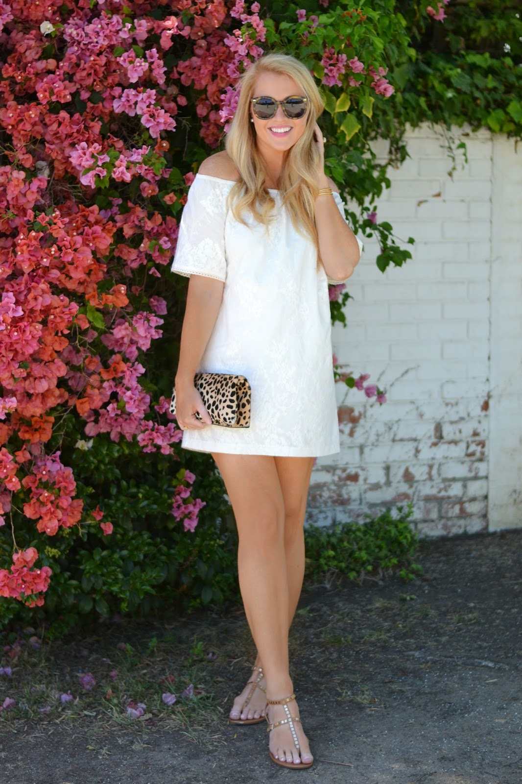 spring white off the shoulder dress