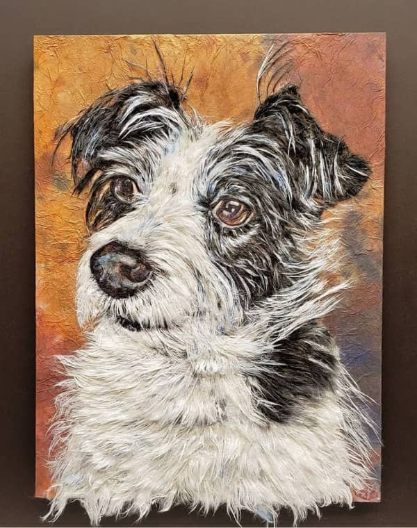 black and white dog portrait made of hanji fibers