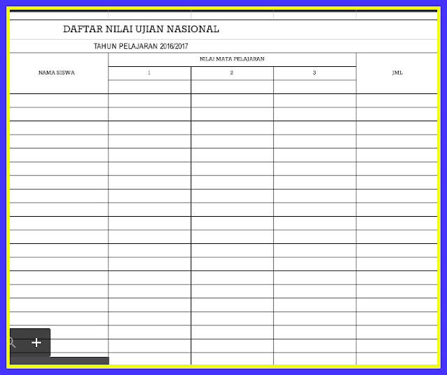 Download Aplikasi Format Rekap Nilai Ujian Nasional Sesuai Juknis