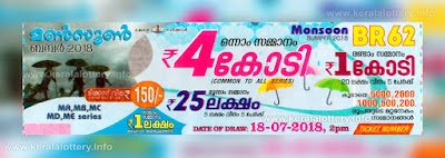 Kerala Lottery Results Today 18.07.2018 Monsoon Bumper BR-62 Result