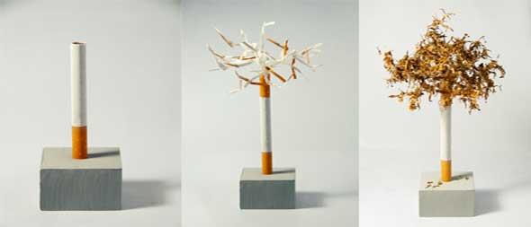 arte, escultura, cigarrillos, quemar adicciones