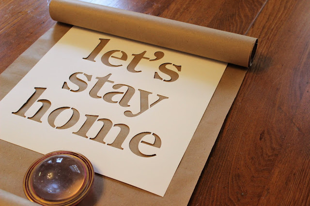 Easy & Inexpensive DIY Brown Craft Paper Stenciled Scroll Sign #stencil #kraftpaper #sign #scrollsign #DIY