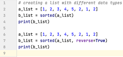 Sorted() in Python