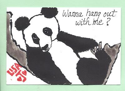 Cute panda etegami Lisa Jastram