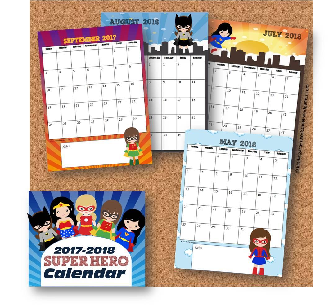 Kindergarten Worksheets And Games Girl Superheroes Printable Calendar