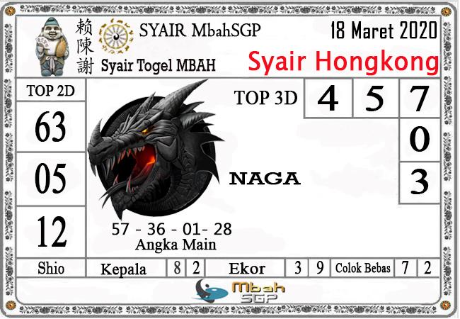 Prediksi Togel JP Hongkong Rabu 18 Maret 2020 - Syair Mbah HK