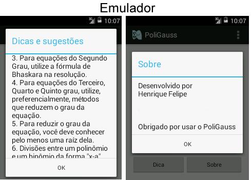 PoliGauss no emulador do Android