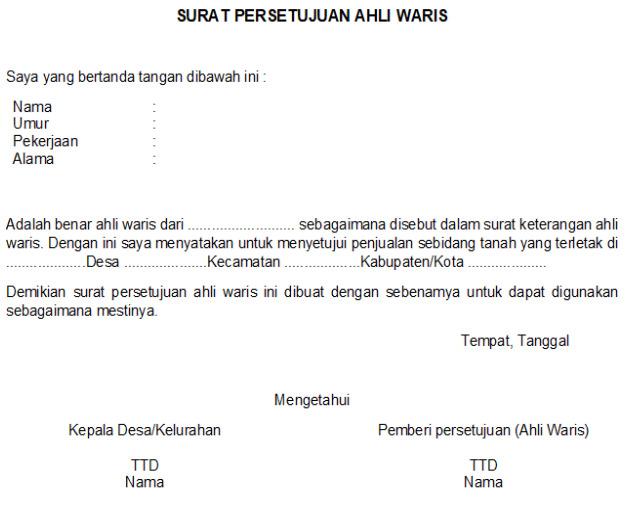 Syarat dan Contoh Surat Ahli Waris