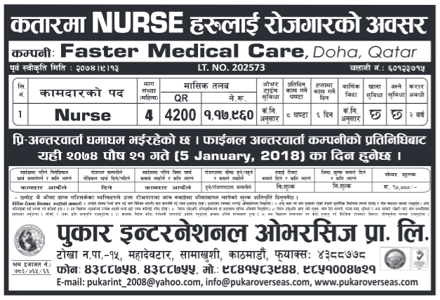 Jobs in Qatar for Nepali, Salary Rs 1,17,960