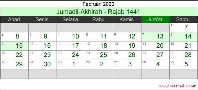 kalender Islam 2020, Februari