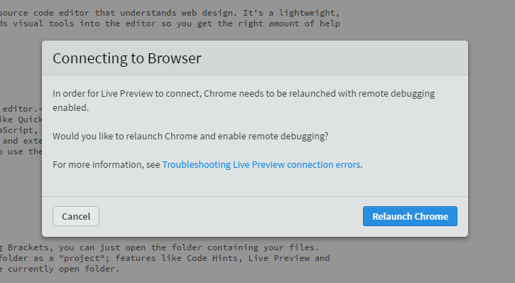 Fixing Brackets Live Preview Error with Chrome