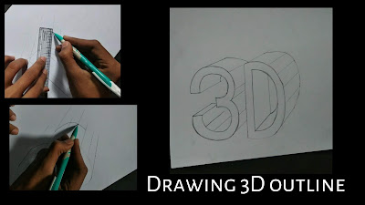 Drawing for kids, step by step tutorial how to draw 3D block letters graphite drawing 3D letters, online drawing blog, step by step tutorial for beginners