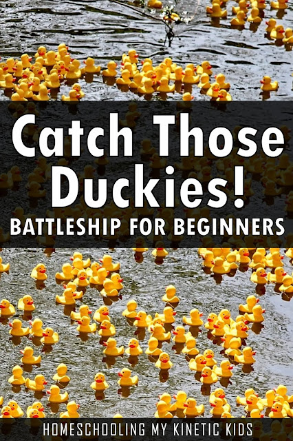 Rubber Duck Grid Game // Homeschooling My Kinetic Kids // Help your opponent capture the lost duckies by calling out the coordinates of where the ducks might be hiding.  Play this battleship for beginners and help your young elementary child practice math coordinates and taking turns.  Folder game is easy to store flat and the mini rubber ducks can go in an Altoid tin.  Fun for the whole family!