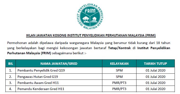 Permohonan Online Jawatan Kosong Di Institut Penyelidikan Perhutanan Malaysia Frim Kelayakan Pmr Spm