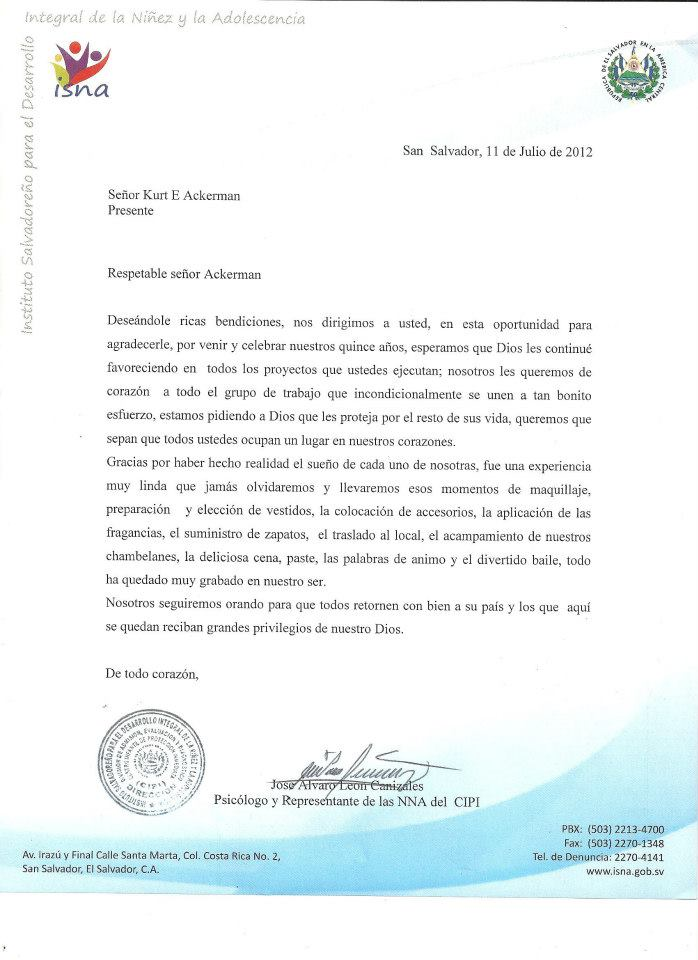 Sample Thank You Letter For Congressional Offices His Hands His Feet A Letter From A Salvadorian Government