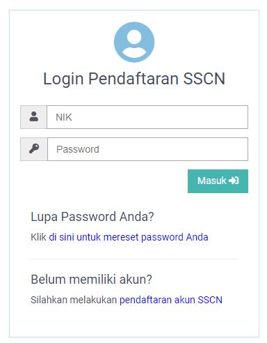 halaman login sscn atau sscasn