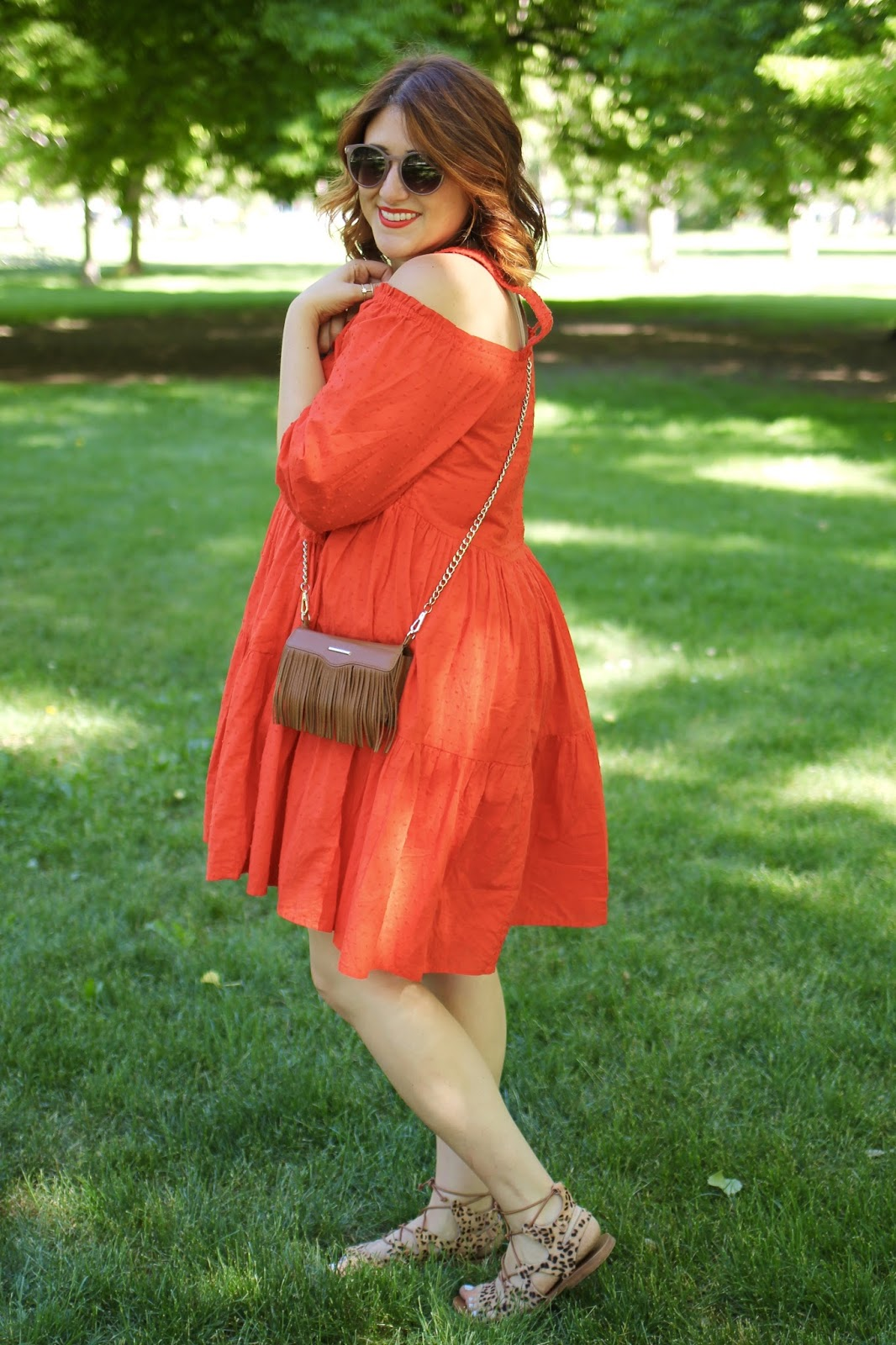 red H&M tiered dress, Red hair, rebecca minkoff phone case, cute outfit for summer