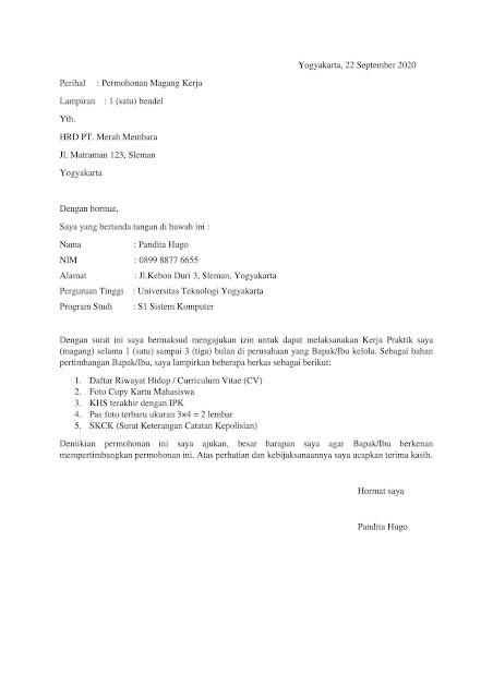 Contoh Surat Lamaran Kerja Simpel (via: tugaskaryawan.com)