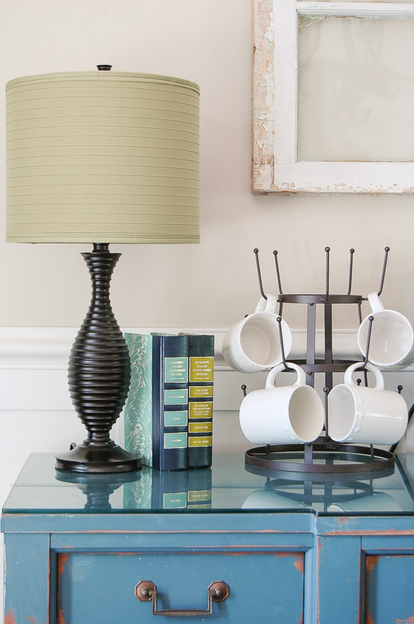 Metal drying rack in a gorgeous dining room