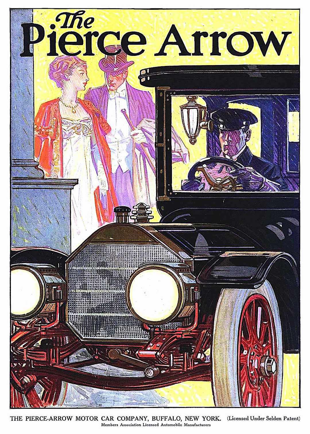a 1910 Pierce Arrow ad illustration