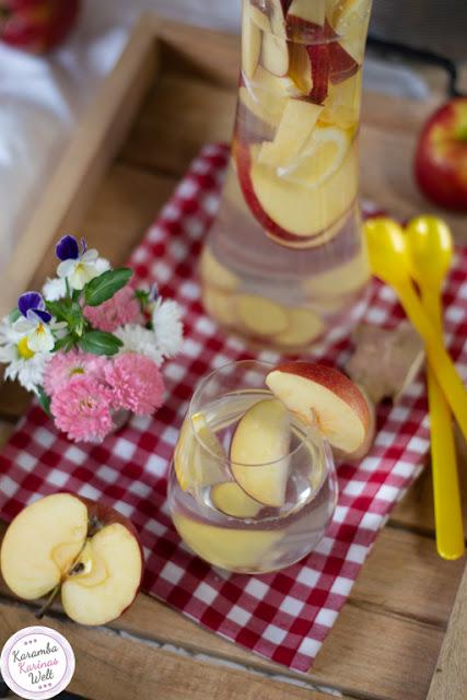 Wasser mit Apfel, Ingwer und Zitrone
