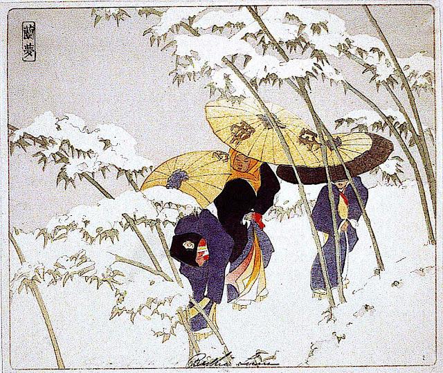 Bertha Boynton Lum, three Japanes women walking in a snow storm