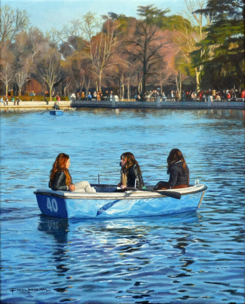 14-Tarde-en-el-estanque-del-Retiro-Fidel-Molina-Realistic-Paintings-of-Cities-Frozen-in-Time-www-designstack-co