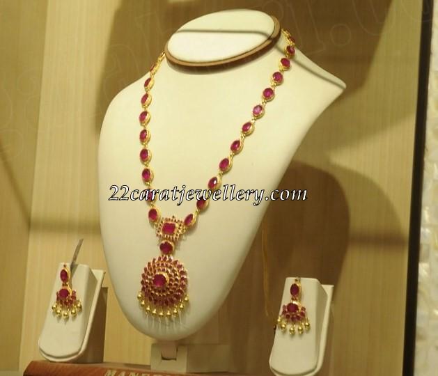 Pota Ruby Long Chain With Earrings Jewellery Designs