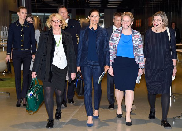 Crown Princess Victoria carried Dagmar Taylor Tote Bag, Ralph Lauren Suede Celia Pump and Malene Birger blouse. Charlotte Bonde Sthlm Louise Ribbon Earrings