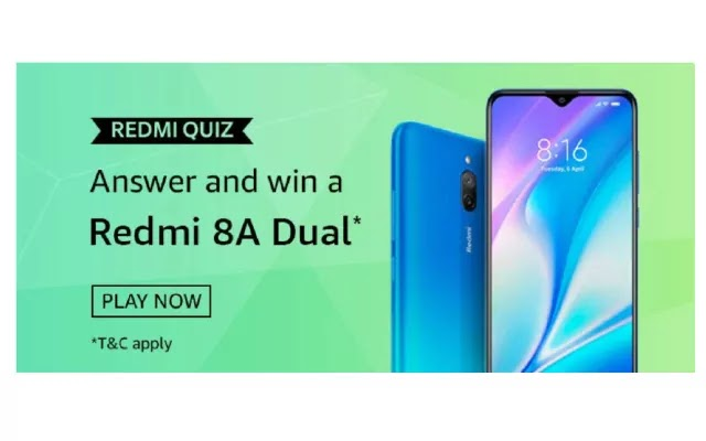 Amazon Redmi Quiz Answers - Win Redmi 8A dual
