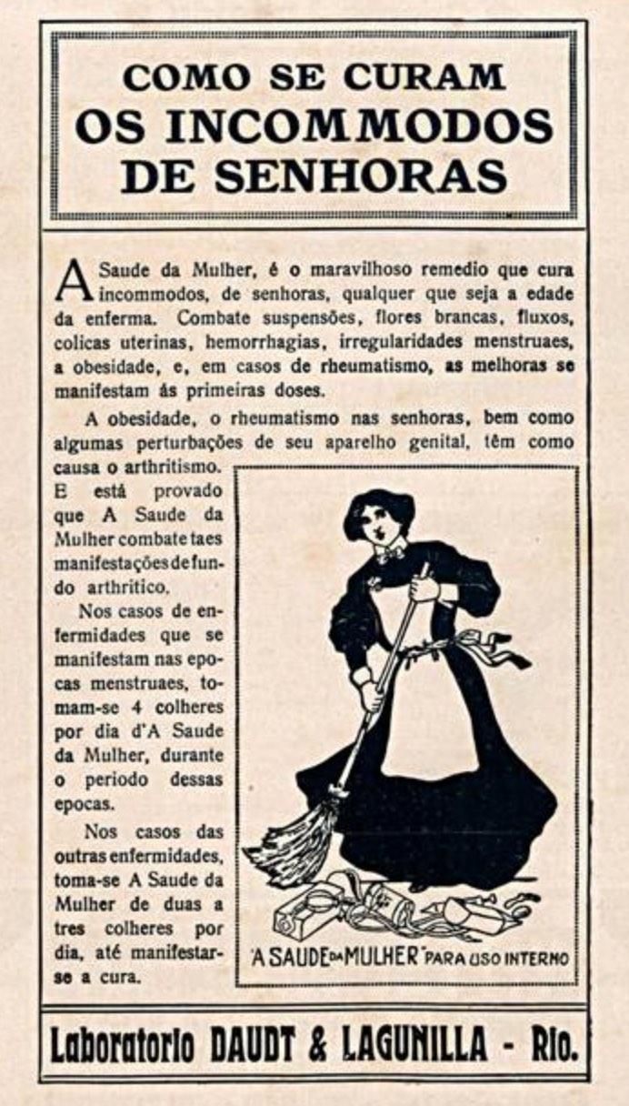 Propaganda antiga do medicamento Saúde da Mulher apresentado em 1913