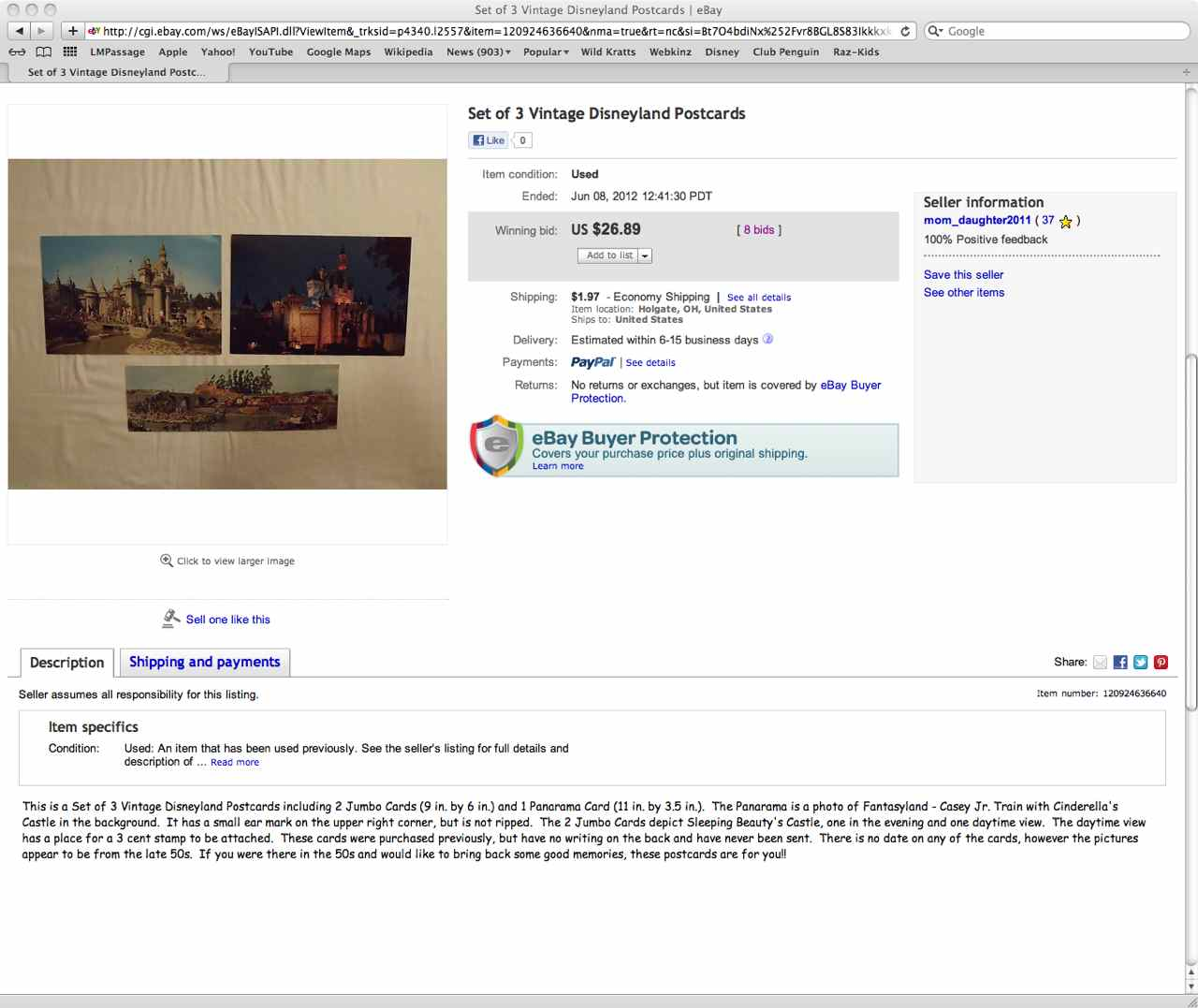 Sundry Collectibles Opportunities Lost On Ebay Disneyland Panorama Postcards