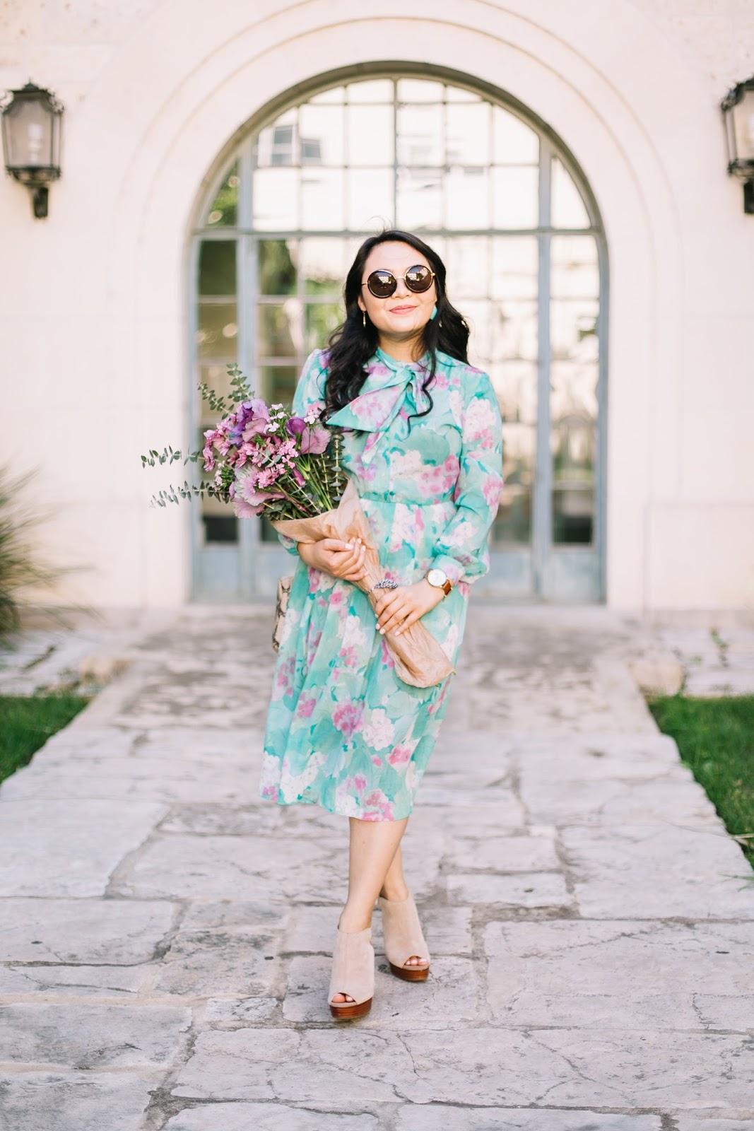 feminine floral vintage 60s dress
