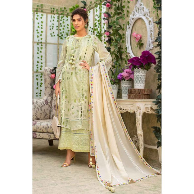 Gul Ahmed cream color luxury suit eid collection