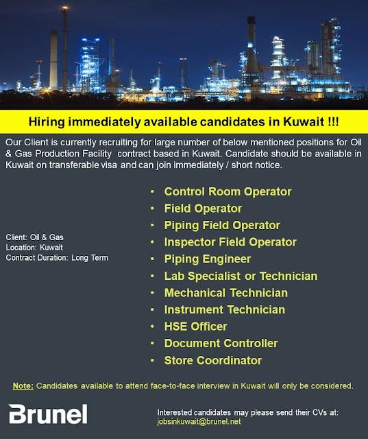 Kuwait Oil & Gas Long Term Jobs : Urgent Hiring : Brunel Energy