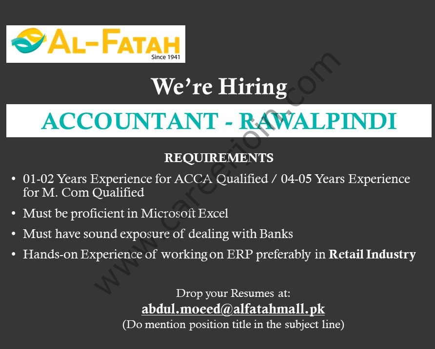 Al-Fatah Shopping Malls Jobs in Pakistan 2021 For Accountant - Apply via abdul.moeed@alfatahmall.pk